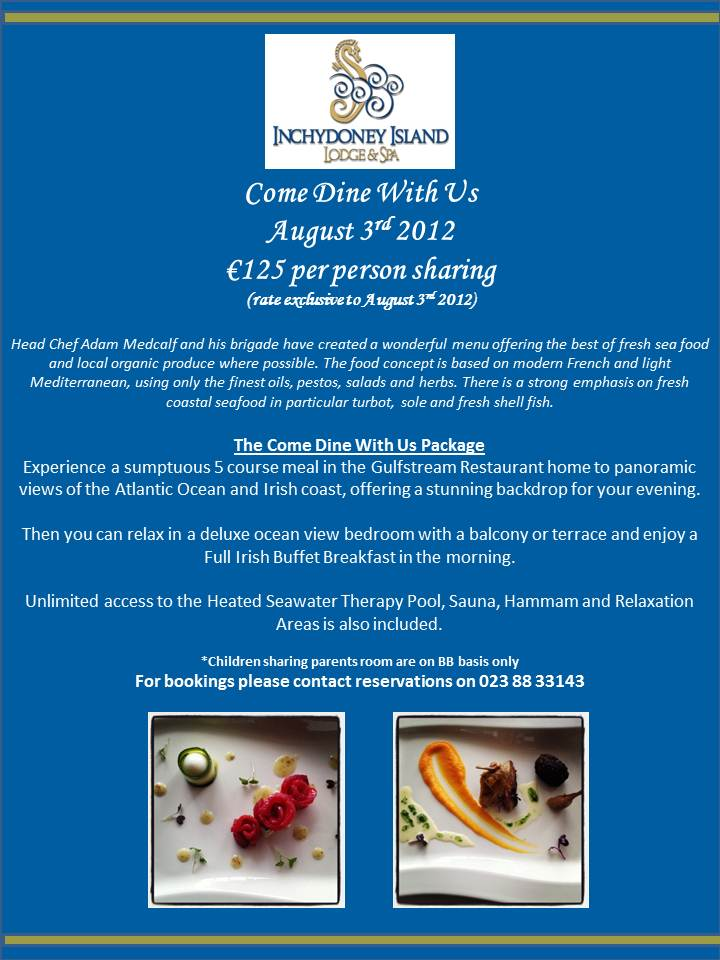 August 3rd 2012 Exlcusive Rate for Come Dine WithUs